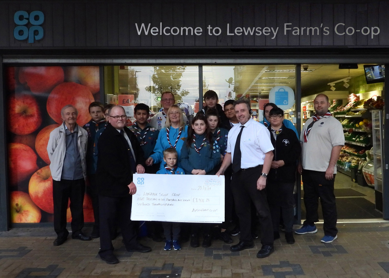 Co Op Cheque for Leagrave Scouts Group
