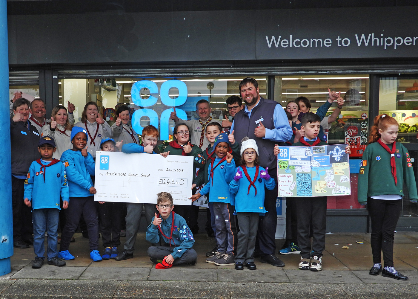 Co Op £12K Cheque adds up to New Camping Gear for Luton Scouts