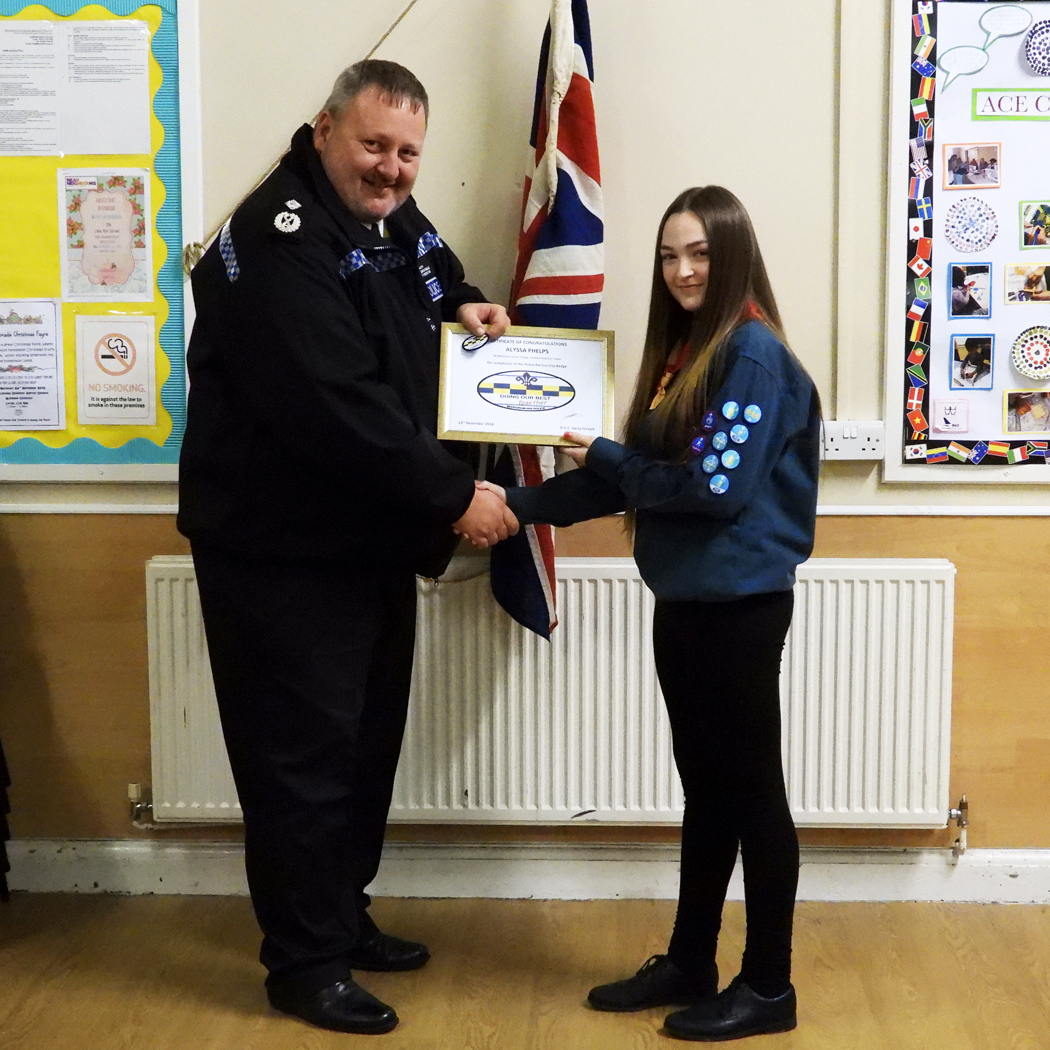 Deputy Chief Constable Makes Presentation of Scout New Partnership Badge